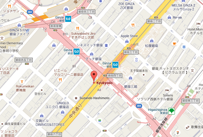 Google map location of Ginza 1-chome