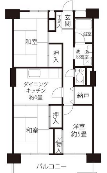 Floorplan for a typical 3DK apartment.