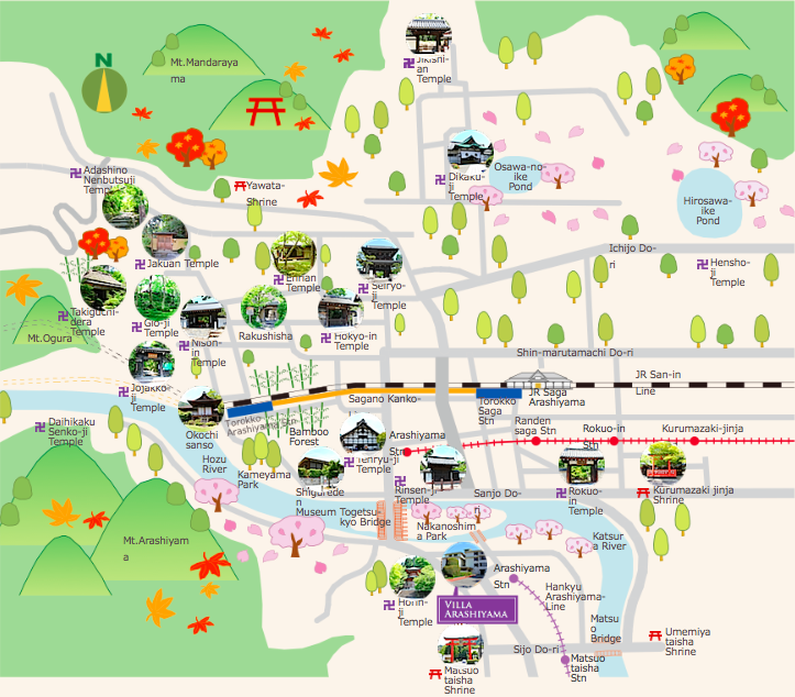 Villa Arashiyama is a 4 minutes walk from Arashiyama station on the Hankyu Arashiyama line.