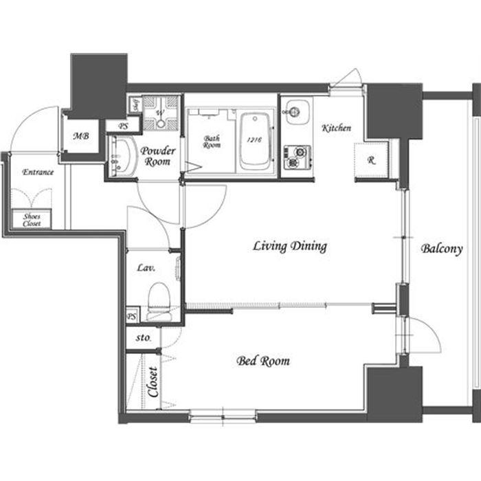 1LDK Apartment Floor Plan