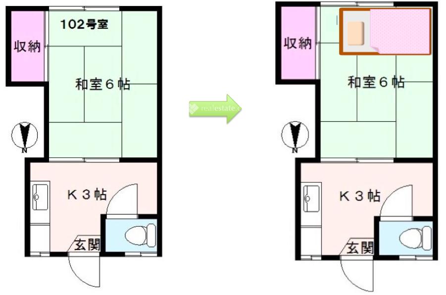 1K和室6帖-模擬和室平面图