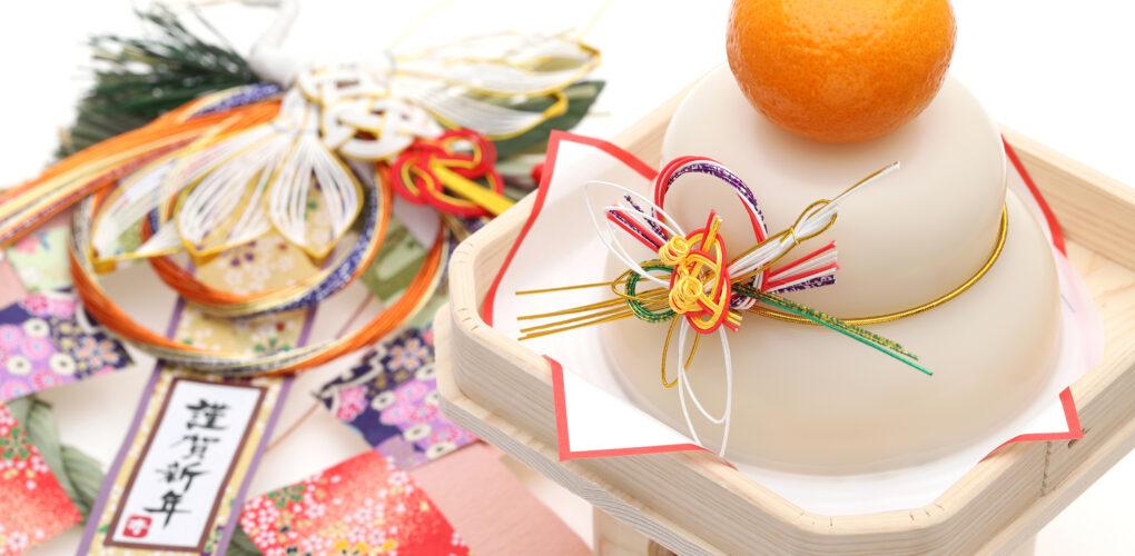 新年傳統裝飾(左為注連飾、右為鏡餅)