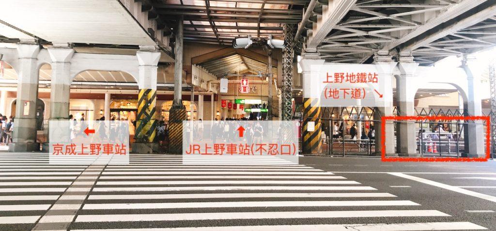JR上野不忍口-地下道-地鐵