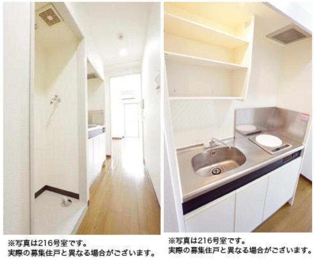 葛西臨海公園-免禮金1R出租公寓-廚房-室內洗衣機