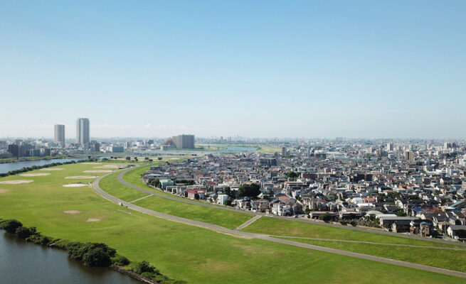 Scenery seen from above the Edogawa River